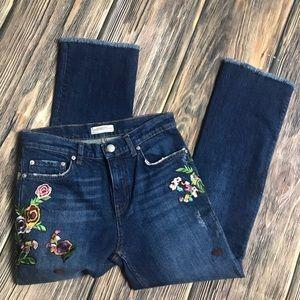 Zara Embroidered flare Jean